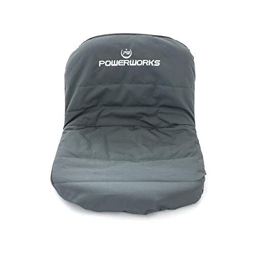 POWERWORKS Waterproof Deluxe Riding Lawn Mower Seat Cover, Medium, Black