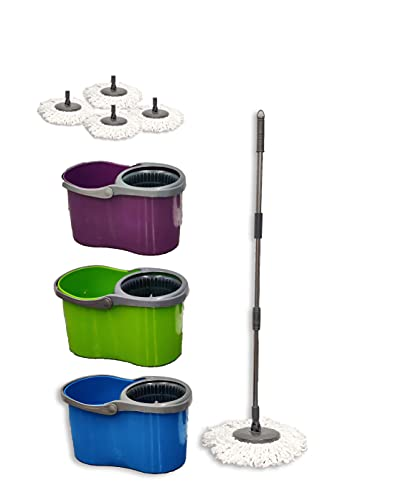 Spin Mop Bucket Set with 360 Spin Wringer with 4 Microfibre Mop Pad Head...