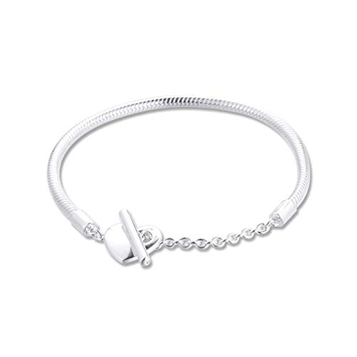 DQS Snake chain bracelet heart moment sterling silver bracelet 925 original female charm be your own jewelry creation