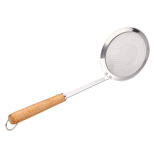 UPKOCH Feinmaschiges Sieb Edelstahl Skimmer Löffel mit Holzgriff für Hot Pot Suppenöl 12Cm