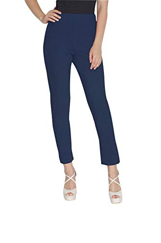 Womens Plain Cotton Stretch Pants Elastic Closure One Pocket Comfortable Dress Pants (Navy Blue, One Size)