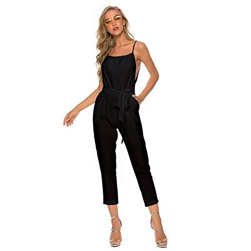 OverDose Soldes Combinaison Salopette Femme Chic Sexy Loose Jumpsuit, Été Grande Taille Casual Pantalon Droite Bodysuit Blanche Noire Rouge Bleu