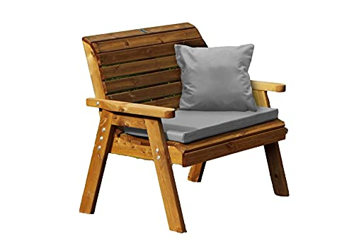 UK-Gardens Traditional Outdoor Patio Two Seater Wood Bench with Grey Cushions