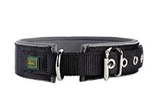 HUNTER NEOPREN REFLECT Hundehalsband, Nylon, Neopren gepolstert, reflektierend, 50 (M),  schwarz/grau
