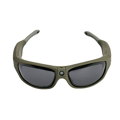Gafas de sol impermeables IP55 para deportes al aire libre UV400 FHD 1080P para cámara de gafas usables y grabadoras de vídeo con lente ajustable, para ciclismo, deportes, color verde
