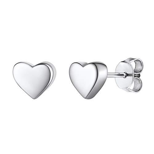 Silvora Pendientes Corazon Plata Mujer Niña Pendientes de plata ley 925 con colgante corazon Pendientes pequeños