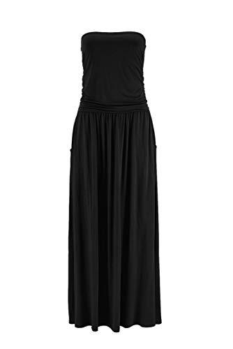Ancapelion Damen Maxikleid Langes Kleider Bandeau Kleid Böhmen Sommerkleid Trägerloses Strandkleid Abendkleid, XL, Schwarz-einfarbig
