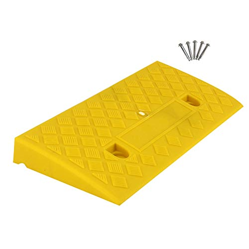 Baiying Rubber Ramps,Thick Plastic Threshold Ramp Car Non-Slip Pressure Resistance Can Carry Two Sets Holes Securely Installed Splicable,3 Colors, 6 Sizes (Color : Yellow, Size : 50X22X5CM)