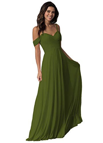 Miao Duo Women's A Line Sweetheart Bridesmaid Dresses Cold Shoulder Chiffon Formal Wedding Party Evening Gowns Olive 16 OYI
