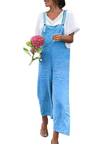 Minetom Latzhose Damen Jumpsuit mit Träger Retro Overalls Sommer Lose Hose Lange Baggy Sommerhose Blau DE 44