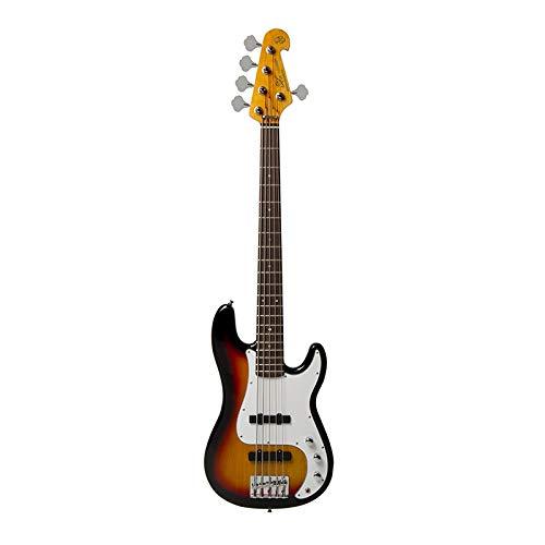 SX Elektrische Bassgitarre, 5-Saiten, PB Stil, Sunburst Finish