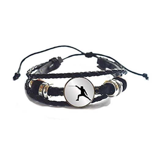 Pulsera de esgrima, regalo de esgrima, pulsera deportiva, regalo del equipo, brazalete de cúpula de cristal artístico, regalo de cumpleaños para dama de honor -JV204