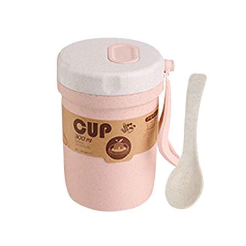 fuchsiaan Fiambrera de paja de trigo para sopa de desayuno, contenedor sellado Foof para niños, escuela y adultos, mujeres, hombres, oficina, 300 ml, color rosa