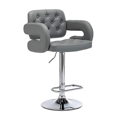 HNNHOME Mercury Drehstuhl aus Kunstleder, für Küche, Bar, Bar, Bar, Barhocker, Hellgrau