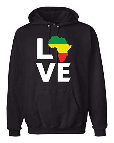 Love Africa Black Culture Excellence Pan African History Fashion Hooded Sweatshirt Graphic Hoodie, Black, 3XL