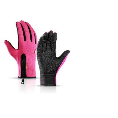 BearHoHo Winter Autunno Regolabile Impermeabile Touchscreen Guanti in Caldo Pile Outdoor Antivento Guanti Antivento Guanti Sportivi Antiscivolo (Rose Rosso, L)