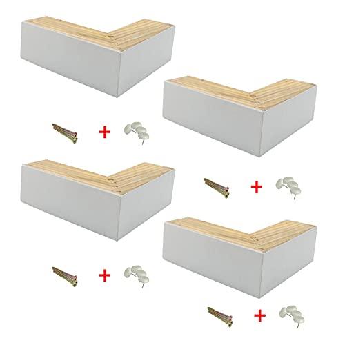 Patas de sofá de Madera Maciza de 4 Piezas, Almohadilla de Aumento, Patas de Mesa de Oficina de eucalipto Madera, Patas de tocador, Patas de Repuesto(Color:White,Size:5cm)
