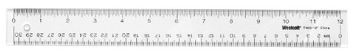 Westcott Clear Flexible Acrylic Ruler, Acrylic, 12 In, Metric