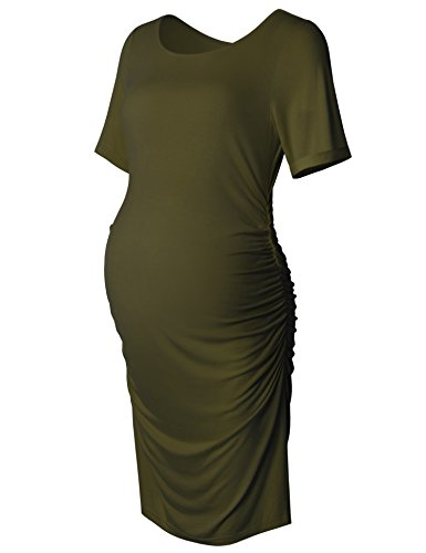 Women's Bodycon Maternity Dress Casual Short Sleeve Ruched Sides Knee Length Pregnant Dresses Green S