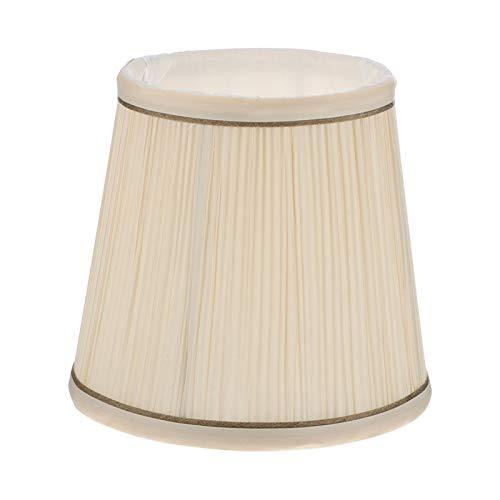 Beaupretty Estor plisado campana de sombra de tela antigua, repuesto DIY de brillantes de techo, lámpara de araña, luz de pared, sombra para tienda de casa, color crema