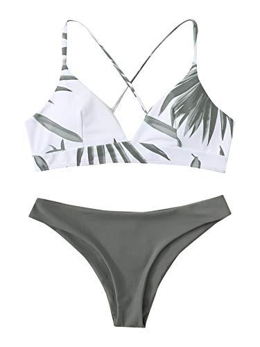 SweatyRocks Women's Sexy Bathing Suit Floral Print Cross Back Bikini Set Swimsuits Leaf Print XS