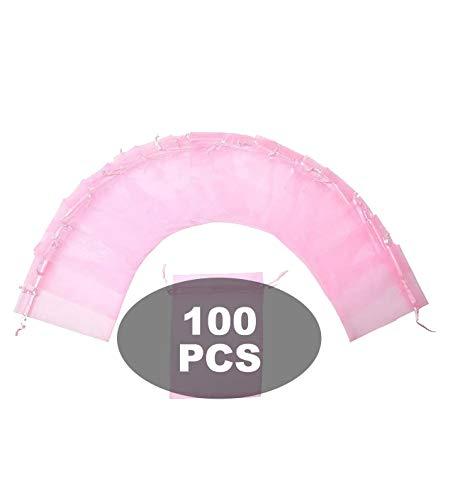Wady Bolsitas de organza de Navidad para fiestas, bodas, 100 unidades, 7 x 9 cm, rosa
