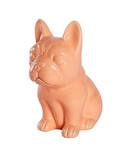 Nayothecorgi Ceramic Dog Statue - Sitting French Bulldog (Shiny Orange)