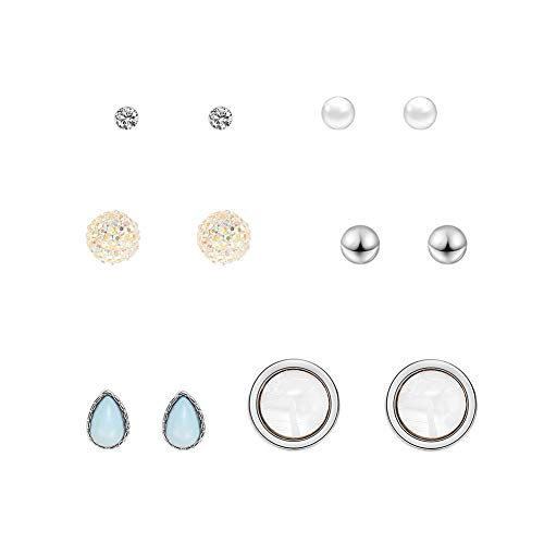 Kanggest.Conjunto de aretes con Aretes de Gota Pendientes de Diamantes Ear Stud Set Pendientes pequeños y Frescos Pendientes Circulares con 6 Pares