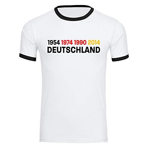 T-Shirt Deutschland mit Jahreszahlen 1954 1974 1990 2014 Trikot Herren weiß Gr. S-2XL - Fanshirt Fanartikel Fanshop Trikot Fußball EM WM Germany,Größe:XL