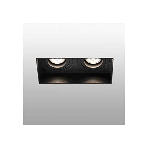 Faro Barcelona 40123 - HYDE Lámpara empotrable negro cuadrado orientable sin marco 2L