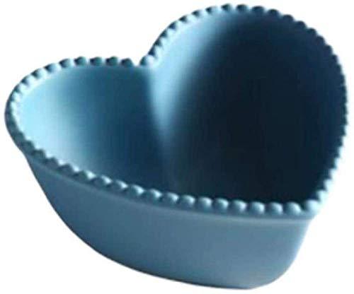 BERTY·PUYI Cuenco de cerámica para Ensalada, Cuenco para Servir el Desayuno, Cuenco para Frutas en Forma de corazón, Cuenco para Mezclar, Cuenco para Aperitivos, Postre, Pasta