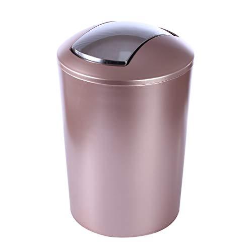 YAKOK 6.5L Rund Mülleimer mit Schwingdeckel Kunststoff Papierkorb Klein Abfallkorb für Küche Bad Büro Wohnzimmer (Rosegold)