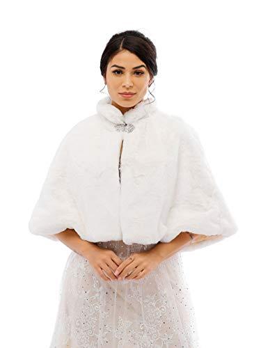 Jovono Chal Estola de Pelo Mujer para Invierno Fiesta Novia Bodas con broche para dama de honor (Blanco)