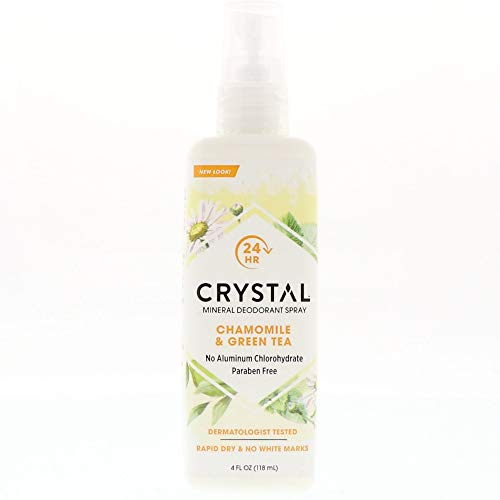 Crystal Essence Mineral Deodorant Spray, Chamomile & Green Tea 4 oz (Pack of 2)