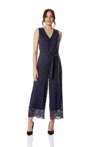 Roman Originals Damen Jumpsuit aus Spitze - Damen All-In-One-Hosenanzug, abends, besondere Anlässe, Partys, Hochzeiten, Hosenrock, Schnürung auf Taillenhöhe, elegant - Navy Blue - Größe 42