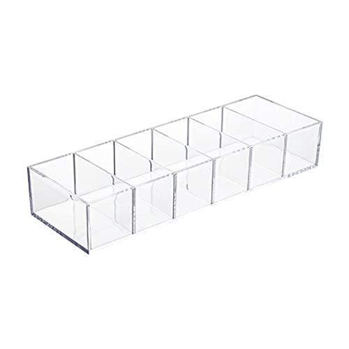 LANCHEN Soporte de Almacenamiento de cosméticos Transparente Multiusos, 6 Compartimentos Separados, Organizador de Maquillaje Desmontable para Dormitorio de Oficina en casa