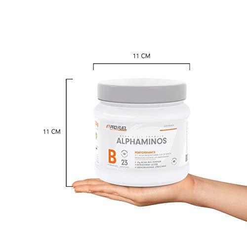 PROFUEL® Alphaminos Blutorange – BCAA 2:1:1 (Leucin, Isoleucin & Valin) – Hervorragende Löslichkeit und sensationeller Geschmack – Hochwertige verzweigkettinge Aminosäuren made in Germany – Vor, während oder nach dem Training – 300 Gramm Dose (Pulver) - 8