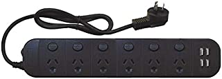 6 Outlet Individual Switch PB w/ 3.4 Amp USB, (PT1816USB3A)