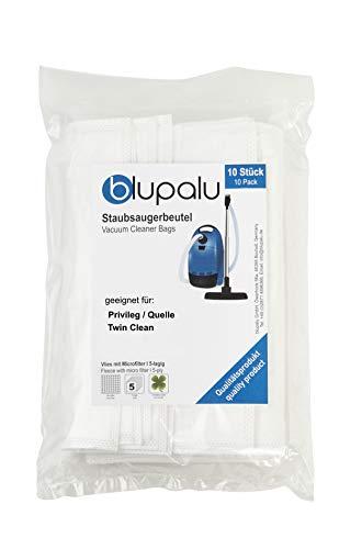 blupalu I Staubsaugerbeutel für Staubsauger Privileg/Quelle Twin Clean I 10 Stück I mit Feinstaubfilter