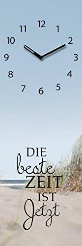 Wanduhr aus Glas, Spruch: Die Beste Zeit ist Jetzt, Strandmotiv, 20x60 cm von Eurographics
