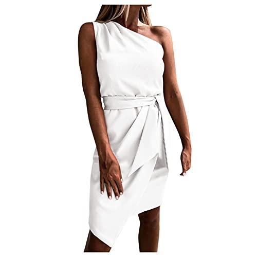 VCAOKF Sexy Kleidung Mode LäSsig Elegant Frauen Casual Solid Color One-Shoulder äRmelloses Krawattenkleid Kurzer Rock Kleid Freizeitkleid Strandkleide