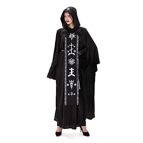 Vestido de bruja con sombrero negro con capucha traje de fiesta de Halloween traje traje de adulto fantasma mago vampiro