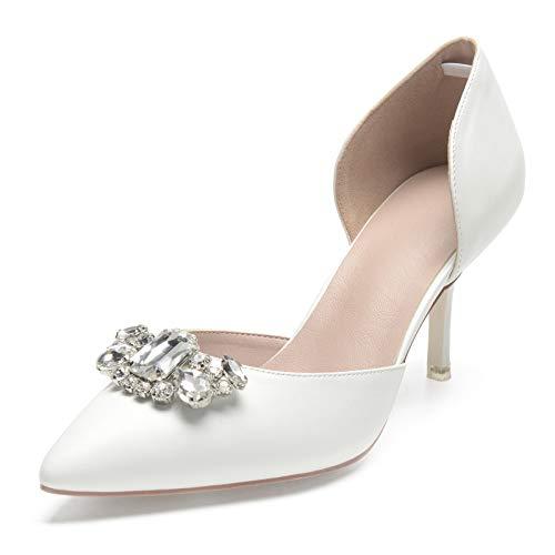 SDJQZ Mujer Zapatos De Boda Primavera Otoño Salón Dedo Puntiagudo Boda Fiesta...
