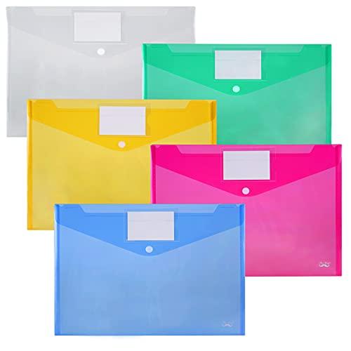 Mr. Pen- Plastic Envelopes, 10 Pack, A4, Letter Size, Plastic Envelopes with Snap Closure, Poly Envelope, Plastic Folders with Closure, Clear Plastic Folders, Plastic Pocket Folders, Document Envelope