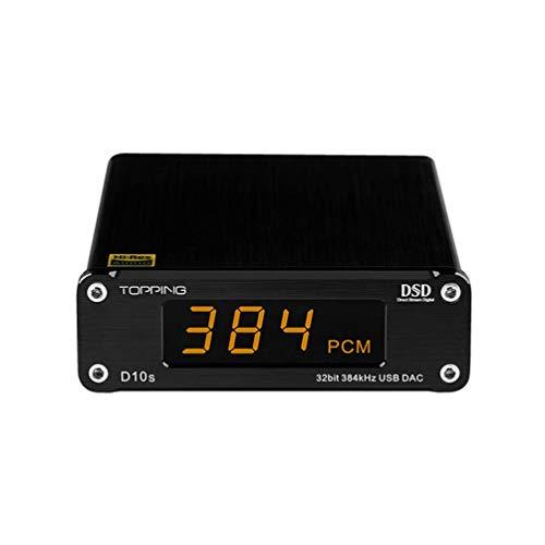 Topping D10s HiFi-DAC-USB-Decoder HiFi-CSS XMOS XU208 ES9038Q2M Optischer Koaxialer DAC DSD256 PCM 384-kHz-Audio-Decoder (Schwarz)
