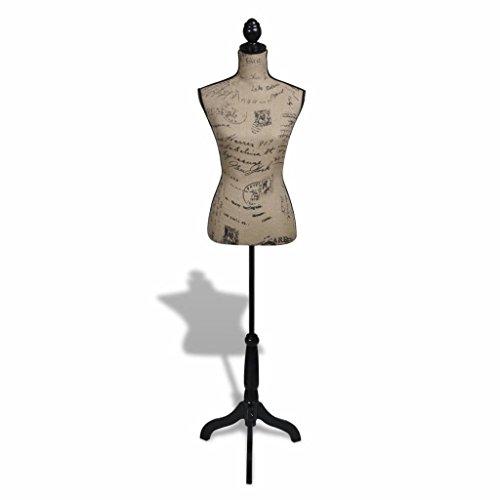 yorten Maniquí de Busto de Mujer de Yute Maniquí de Modista Soporte de Tubo Bases de Soporte Marrón y Negro