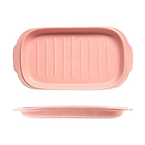 Bandejas Horno para Horno y microondas Cerámica Cakeware Lasagna Pans para cocinar Cena Cena Cocina Microondas Horno Horno Bandeja Cerámica para Hornear Utensilios (Color : Pink, Size : One Size)
