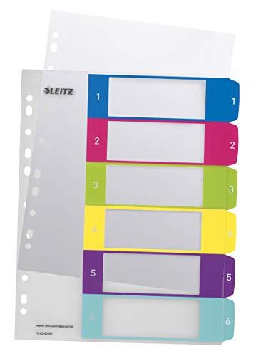 Leitz Register für A4, PC-beschriftbares Deckblatt und 6 Trennblätter, Taben mit Zahlenaufdruck 1-6, Überbreite, Mehrfarbig, Polypropylen, WOW, 12420000