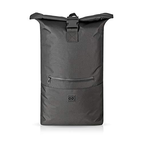 URBAN ZWEIRAD Roll-Top Rucksack 35l - Lifestyle Rucksack für den Alltag - Wasserabweisend & sehr individuell packbar - Damen & Herren (Schwarz)
