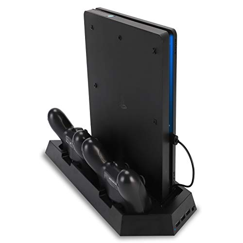 PS4 Charging Station Stand With Cooling Fan For Playstation 4/PS4 Slim/PS4 Pro, PS4 Vertical Stand With Dual PS4 Dualshock Controller Charger Port And Charging Status Indicator Light
